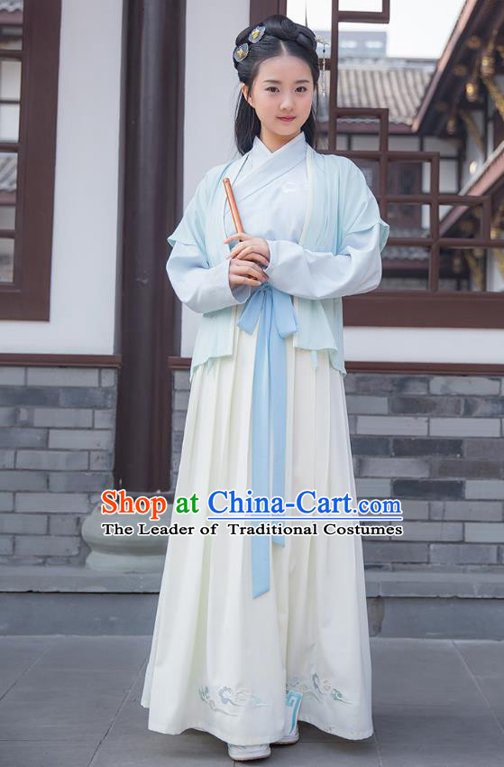 Ancient Chinese Palace Princess Hanfu Costume, Traditional China Ming Dynasty Young Lady Embroidery Blue Half-arm Shawl Clothing
