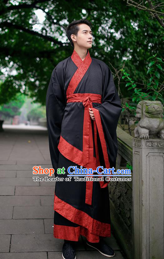 Ancient Chinese Hanfu Wedding Costume, Traditional China Han Dynasty Bridegroom Embroidery Clothing for Men