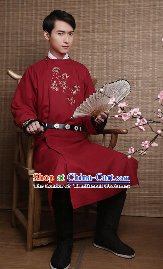 Traditional Chinese Ancient Hanfu Costumes, Asian China Ming Dynasty Imperial Guards Embroidery Red Long Robe for Men