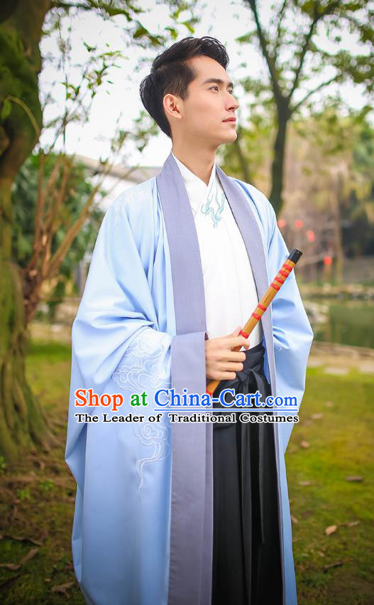 Traditional Chinese Ancient Hanfu Swordsman Costumes, Asian China Jin Dynasty Embroidery Blue Cloak for Men