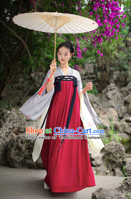 Traditional Chinese Ancient Hanfu Imperial Princess Costume, Asian China Tang Dynasty Palace Lady Embroidery Red Slip Dress for Women