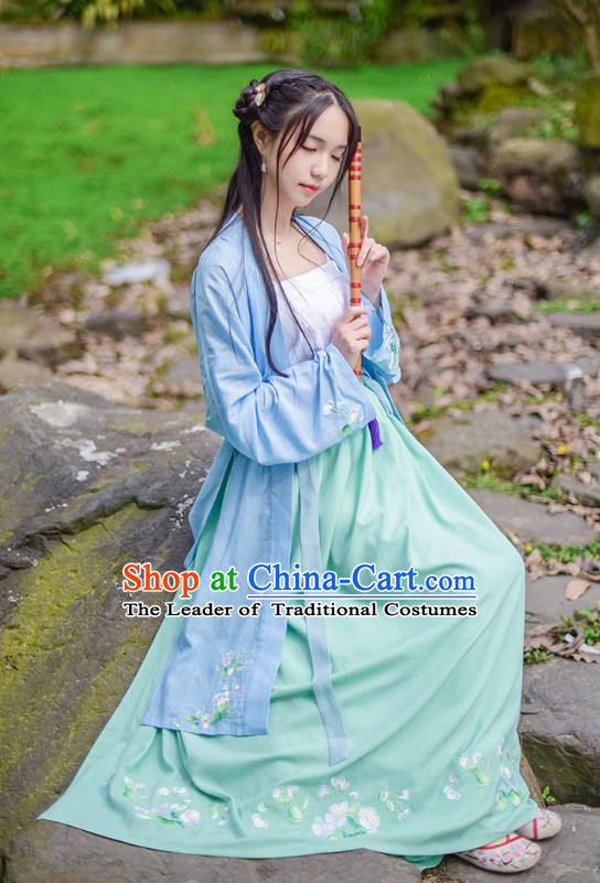 Traditional Chinese Ancient Hanfu Princess Costume, Asian China Song Dynasty Young Lady Embroidery Long BeiZi Blue Cardigan for Women