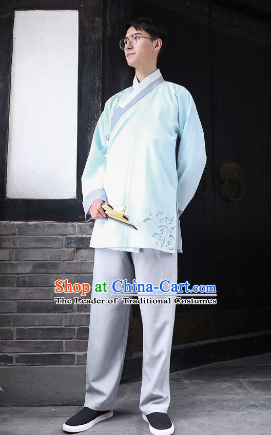Traditional Chinese Ancient Hanfu Costumes, Asian China Embroidery Blue Blouse and Pants for Men