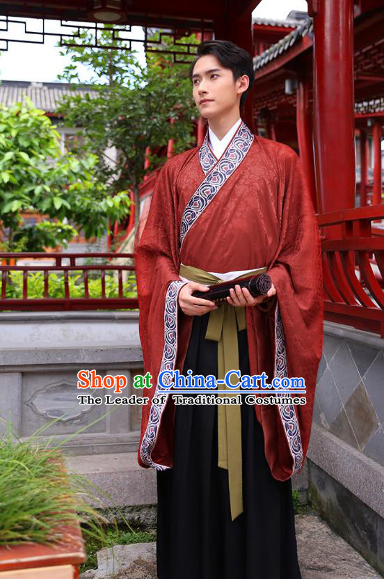 Traditional Chinese Ancient Hanfu Young Men Costumes, Asian China Han Dynasty Embroidery Wedding Clothing for Men
