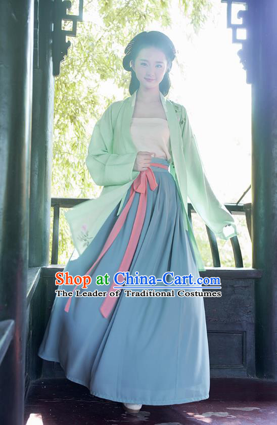 Traditional Chinese Ancient Hanfu Young Lady Costumes, Asian China Song Dynasty Princess Embroidery Dress Clothing for Women