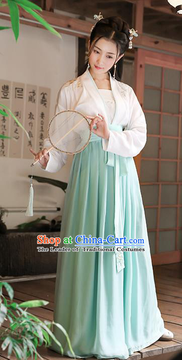 Traditional Chinese Ancient Young Lady Hanfu Costume, Asian China Ming Dynasty Princess Embroidered Blouse and Skirt Complete Set for Women