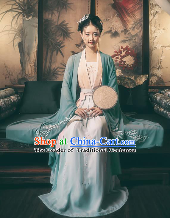 Traditional Chinese Ancient Royal Princess Hanfu Costume, Asian China Tang Dynasty Palace Lady Embroidered Wide Sleeve Green Cloak for Women