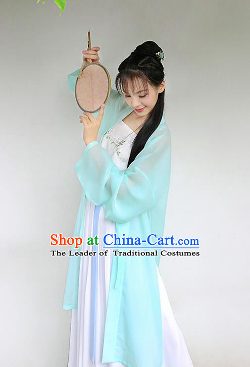 Traditional Chinese Ancient Hanfu Princess Costume, Asian China Song Dynasty Palace Lady Embroidered Blue Cardigan for Women