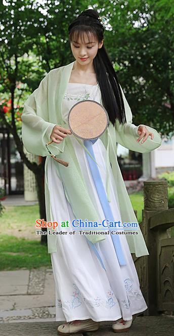 Traditional Chinese Ancient Hanfu Princess Costume, Asian China Song Dynasty Palace Lady Embroidered Green Cardigan for Women