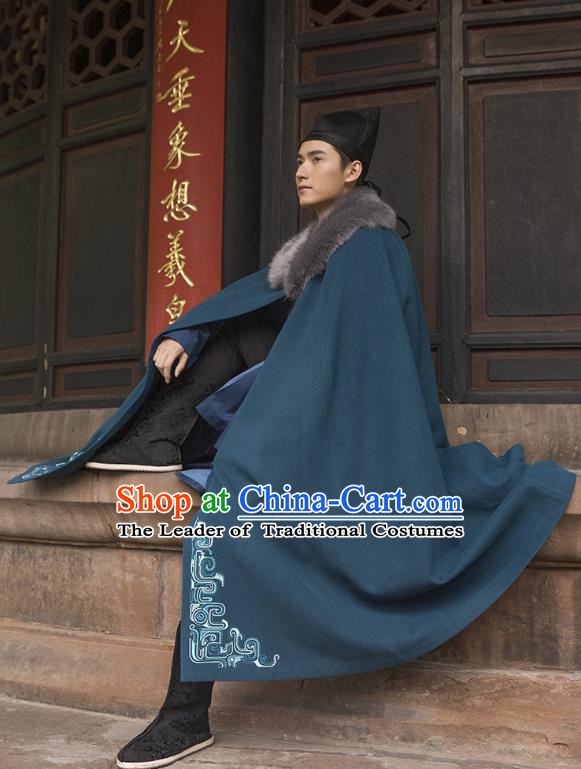 Traditional Chinese Ancient Hanfu Swordsman Costume Hooded Mantle, Asian China Han Dynasty Imperial Bodyguard Embroidered Peacock Blue Cloak for Men