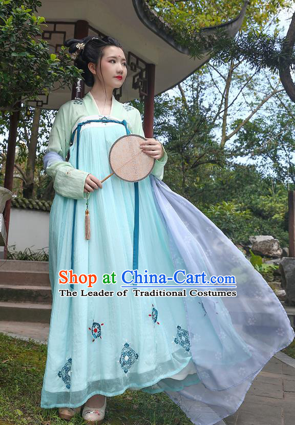 Traditional Chinese Ancient Hanfu Princess Costume Green Slip Skirt, Asian China Tang Dynasty Palace Lady Embroidered Clothing for Women