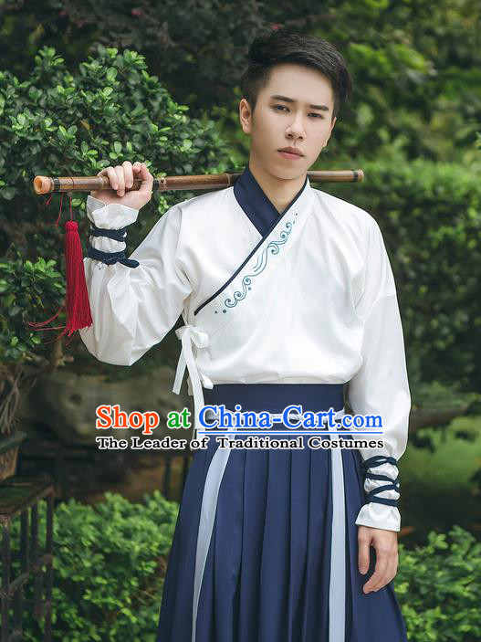 Traditional Chinese Ancient Hanfu Costume Swordsman Dress, Asian China Han Dynasty Embroidered Clothing for Men