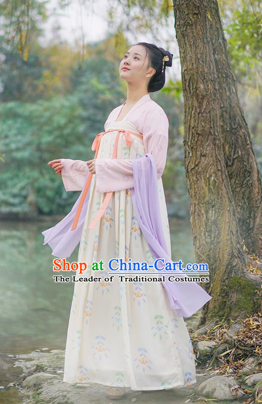 Traditional Chinese Ancient Hanfu Princess Costume Embroidered Yellow Slip Skirt, Asian China Tang Dynasty Palace Lady Clothing for Women