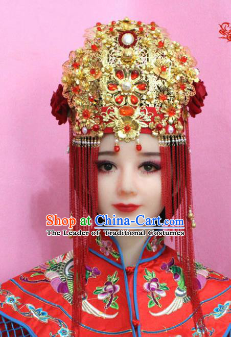 Traditional Handmade Chinese Hair Accessories Bride Wedding Xiuhe Suit Phoenix Coronet Complete Set, Empress Tassel Step Shake Hair Jewellery Hairpins for Women