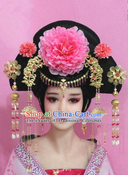 Traditional Handmade Chinese Hair Accessories Palace Lady Empress Peony Phoenix Coronet Headwear, Imperial Concubine Tassel Step Shake Hairpins for Women