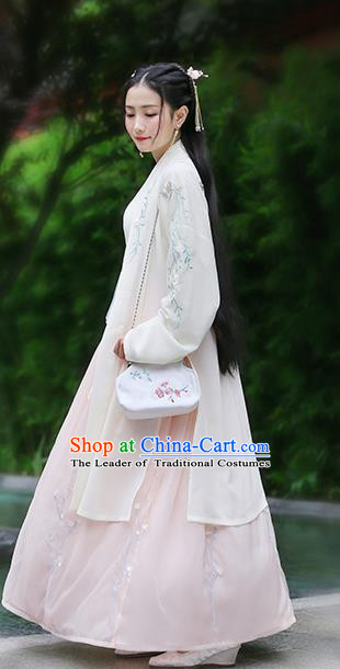 Traditional Chinese Ancient Hanfu Princess Costume Yellow Embroidered Cloak, Asian China Song Dynasty Palace Lady Cardigan Clothing for Women