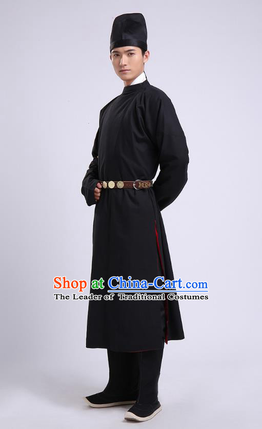 Traditional Chinese Ancient Imperial Bodyguard Costume, Asian China Tang Dynasty Swordsman Black Robe for Men
