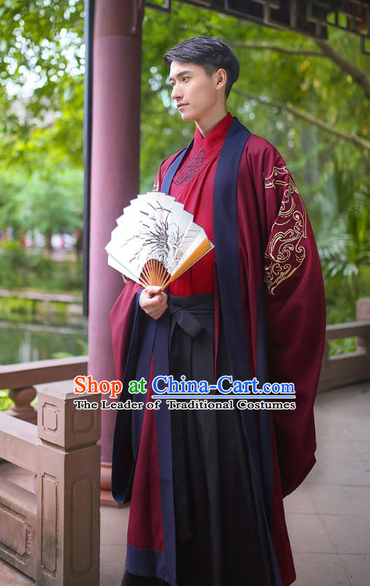 Traditional Chinese Ancient Imperial Bodyguard Costume, Asian China Han Dynasty Swordsman Red Embroidered Cloak for Men