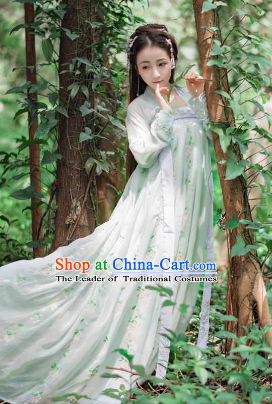 Traditional Chinese Ancient Palace Lady Costume, Asian China Tang Dynasty Princess Embroidered Green Dress Clothing for Women