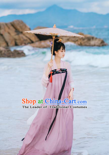 Traditional Chinese Ancient Palace Lady Costume, Asian China Tang Dynasty Princess Embroidered Blouse and Purple Slip Skirts for Women