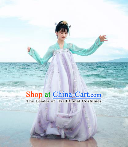 Traditional Chinese Ancient Palace Lady Costume, Asian China Tang Dynasty Princess Embroidered Green Blouse and Lilac Slip Skirts for Women