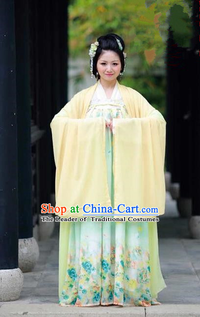 Traditional Chinese Ancient Palace Lady Costume, Asian China Tang Dynasty Princess Embroidered Wide Sleeve Yellow Cardigan for Women