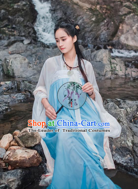 Traditional Chinese Ancient Palace Lady Costume, Asian China Tang Dynasty Royal Princess Embroidered Slip Skirts for Women