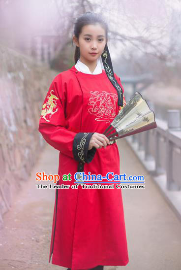 Traditional Chinese Ancient Imperial Bodyguard Costume, Asian China Ming Dynasty Swordswoman Red Clothing for Women