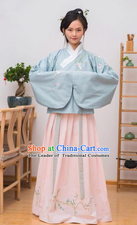 Traditional Chinese Ancient Palace Lady Costume, Asian China Ming Dynasty Imperial Concubine Embroidered Blouse and Skirt Clothing for Women