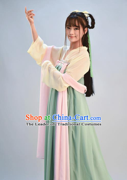 Traditional Chinese Ancient Young Lady Costume, Asian China Tang Dynasty Imperial Princess Embroidered Green Slip Skirt for Women