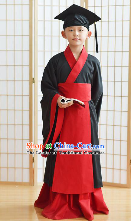Traditional Chinese Ancient Hanfu Children Costume, Asian China Han Dynasty Scholar Clothing for Kids