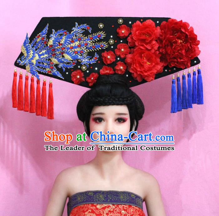Traditional Handmade Chinese Hair Accessories Qing Dynasty Empress Banners Phoenix Headwear, Manchu Imperial Concubine Hairpins for Women