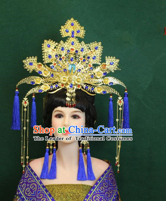 Traditional Handmade Chinese Hair Accessories Empress Blue Tassel Phoenix Coronet Complete Set, Tang Dynasty Princess Hairpins Headwear for Women