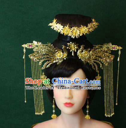 Traditional Handmade Chinese Hair Accessories Empress Wedding Tassel Phoenix Coronet Complete Set, Han Dynasty Princess Step Shake Hairpins for Women