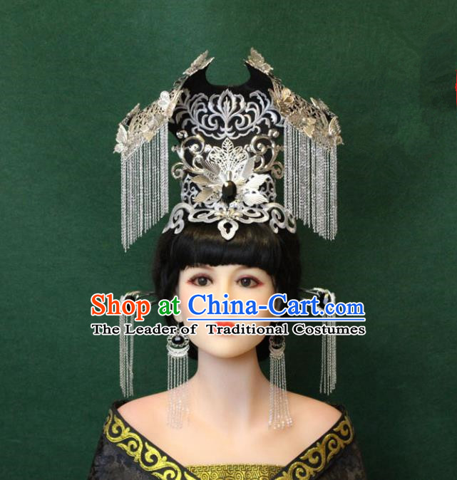 Traditional Handmade Chinese Hair Accessories Empress Tassel Phoenix Coronet Complete Set, Han Dynasty Princess Step Shake Hairpins for Women