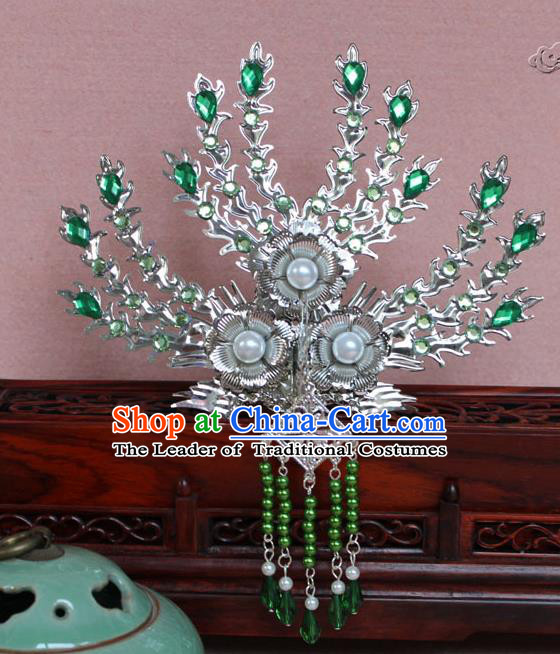 Traditional Handmade Chinese Hair Accessories Princess Green Crystal Phoenix Hairpins, Tang Dynasty Palace Lady Tassel Frontlet Step Shake for Women