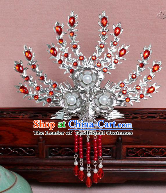 Traditional Handmade Chinese Hair Accessories Princess Red Crystal Phoenix Hairpins, Tang Dynasty Palace Lady Tassel Frontlet Step Shake for Women
