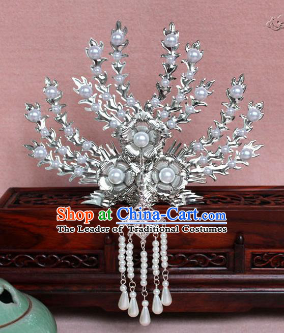Traditional Handmade Chinese Hair Accessories Princess White Crystal Phoenix Hairpins, Tang Dynasty Palace Lady Tassel Frontlet Step Shake for Women