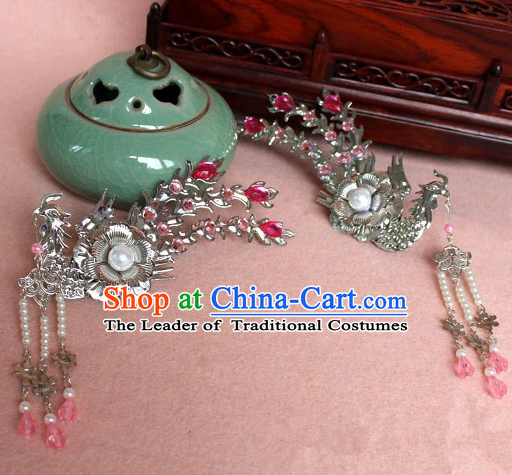 Traditional Handmade Chinese Hair Accessories Princess Pink Phoenix Hairpins, Tang Dynasty Palace Lady Tassel Step Shake for Women