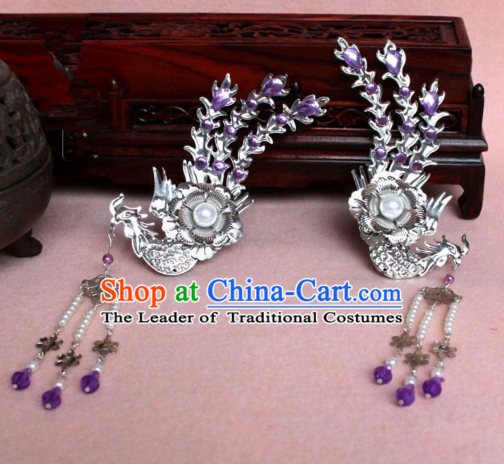 Traditional Handmade Chinese Hair Accessories Princess Purple Phoenix Hairpins, Tang Dynasty Palace Lady Tassel Step Shake for Women