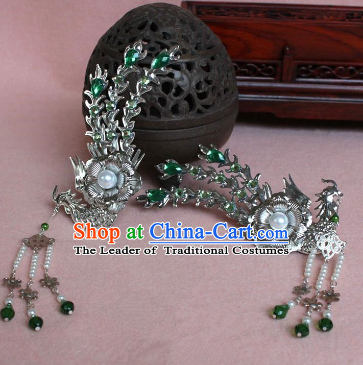 Traditional Handmade Chinese Hair Accessories Princess Green Phoenix Hairpins, Tang Dynasty Palace Lady Tassel Step Shake for Women