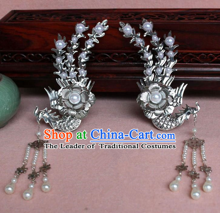 Traditional Handmade Chinese Hair Accessories Princess White Phoenix Hairpins, Tang Dynasty Palace Lady Tassel Step Shake for Women