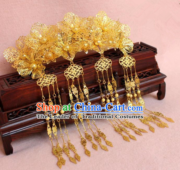 Traditional Handmade Chinese Hair Accessories Princess Golden Phoenix Coronet, Tang Dynasty Palace Lady Tassel Step Shake Hairpins for Women
