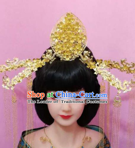 Traditional Handmade Chinese Hair Accessories Empress Golden Phoenix Coronet, China Tang Dynasty Hairpins Tassel Step Shake Complete Set for Women