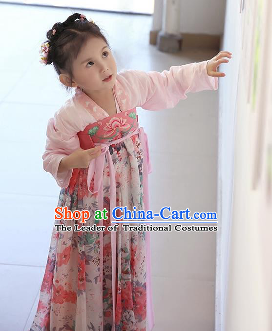 Asian China Ancient Tang Dynasty Children Costume Complete Set, Traditional Chinese Princess Dress Clothing for Kids