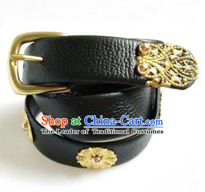 Traditional Handmade Chinese Accessories Tang Dynasty Emperor Belts, China Majesty Black Leather Waistband for Men