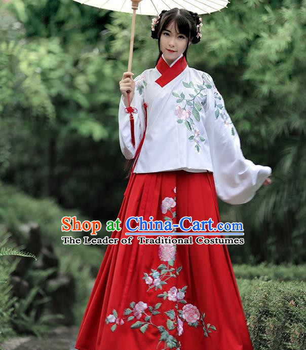 Traditional Chinese Ancient Young Lady Hanfu Costume Embroidered White Blouse, Asian China Ming Dynasty Princess Upper Outer Garment Clothing for Women