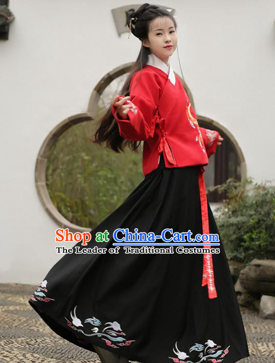 Asian Chinese Ming Dynasty Young Lady Hanfu Costume Embroidered Blouse and Skirt, Traditional China Ancient Princess Clothing for Women