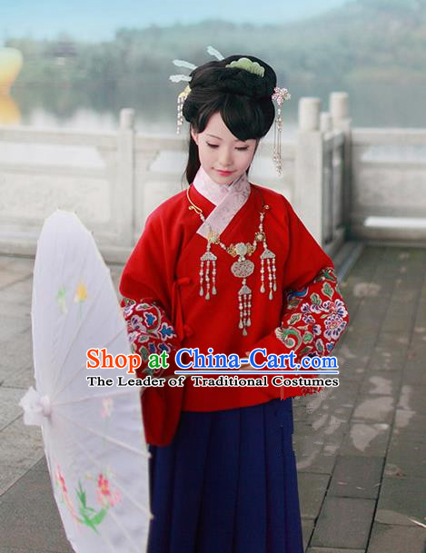 Asian Chinese Ming Dynasty Hanfu Embroidered Red Blouse Costume, Traditional China Ancient Princess Clothing for Women