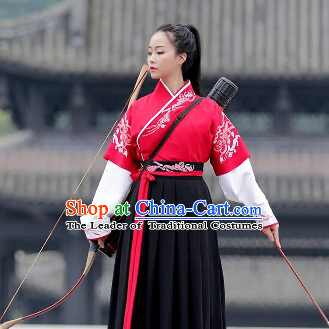 Asian Chinese Ming Dynasty Imperial Guards Costume, Traditional China Ancient Princess Embroidered Swordswoman Clothing